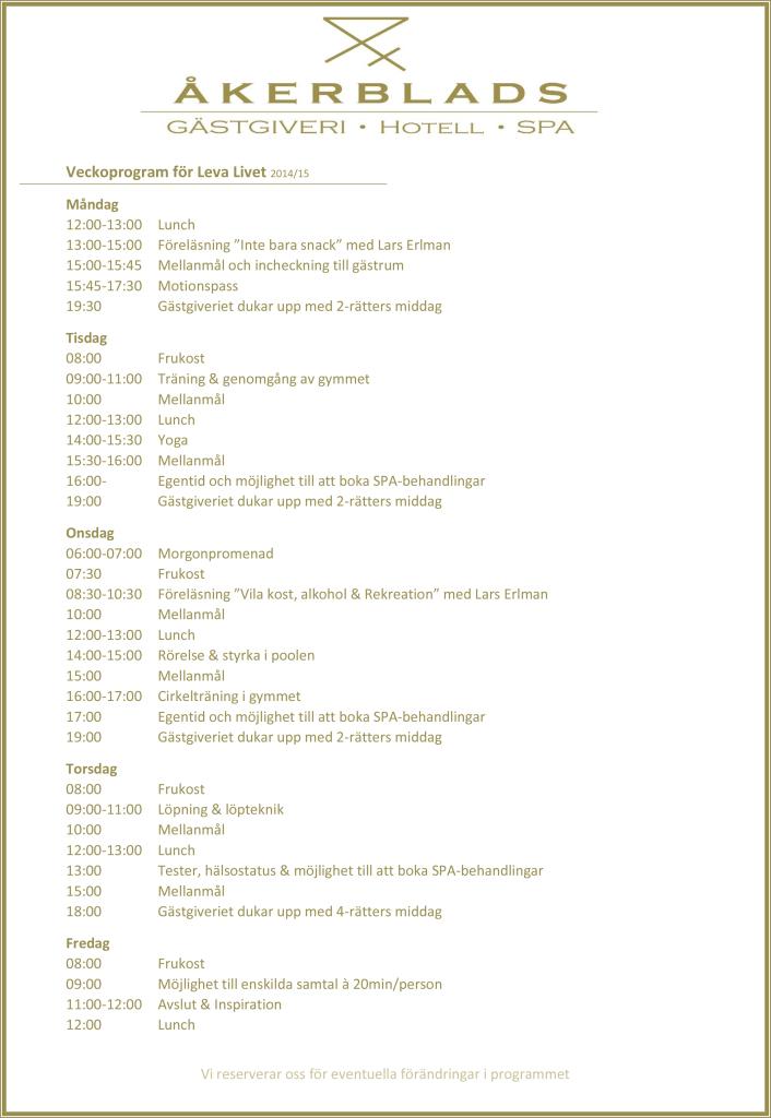 Veckoprogram för Leva Livet 2014
